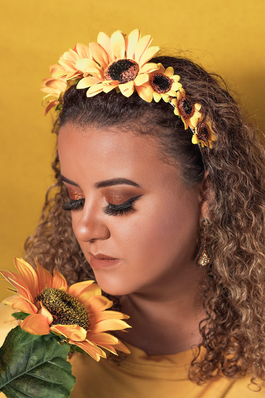 Foto stok gratis anggun, berbau, bunga matahari, eye shadow