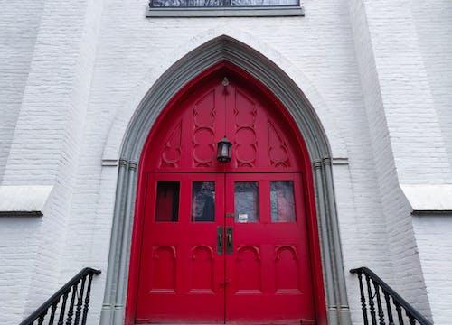 교회 문, 대칭적인, 붉은 색의 무료 스톡 사진