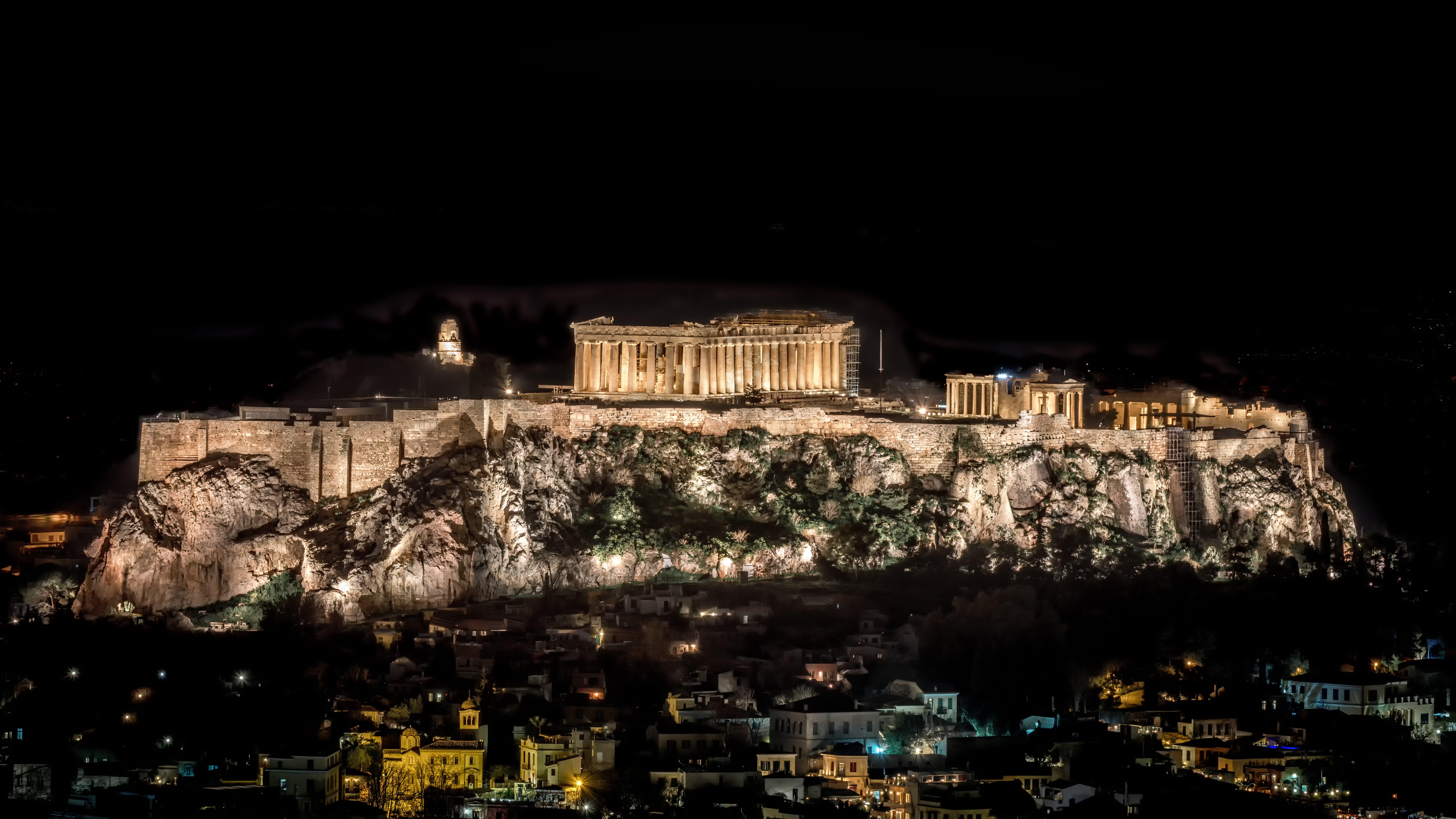 Darmowe zdjęcie z galerii z fotografia nocna, nocny krajobraz, partenon, starożytny