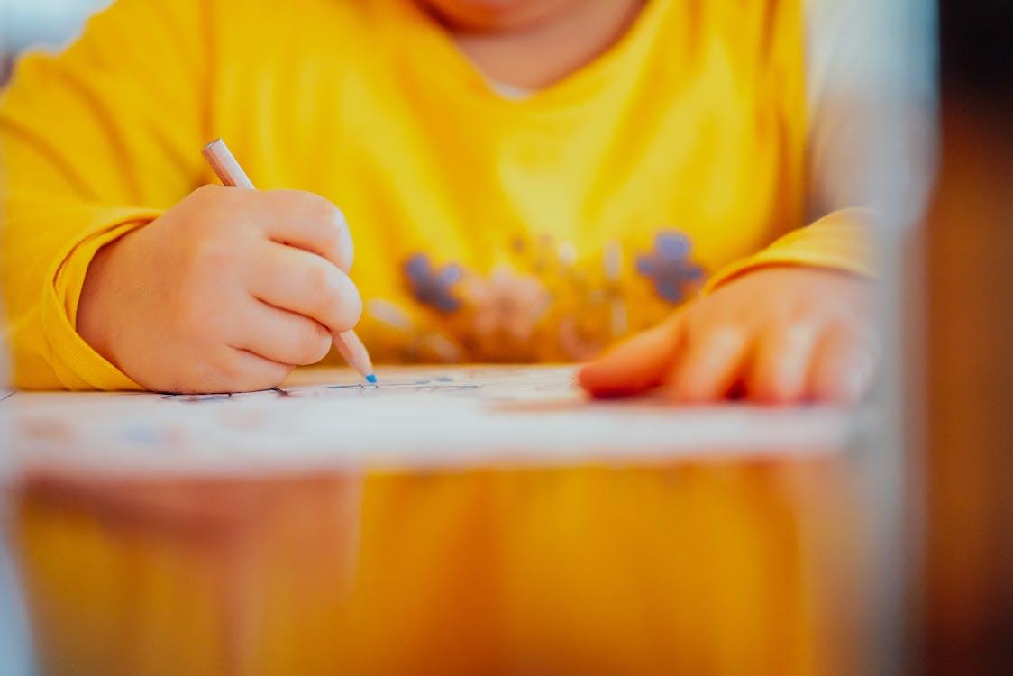 gyermek, kézi rajz, kölyök