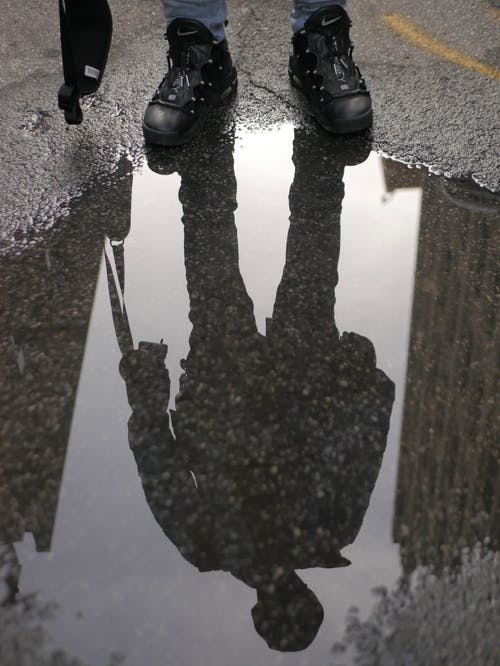 Reflection Of Person On Puddle