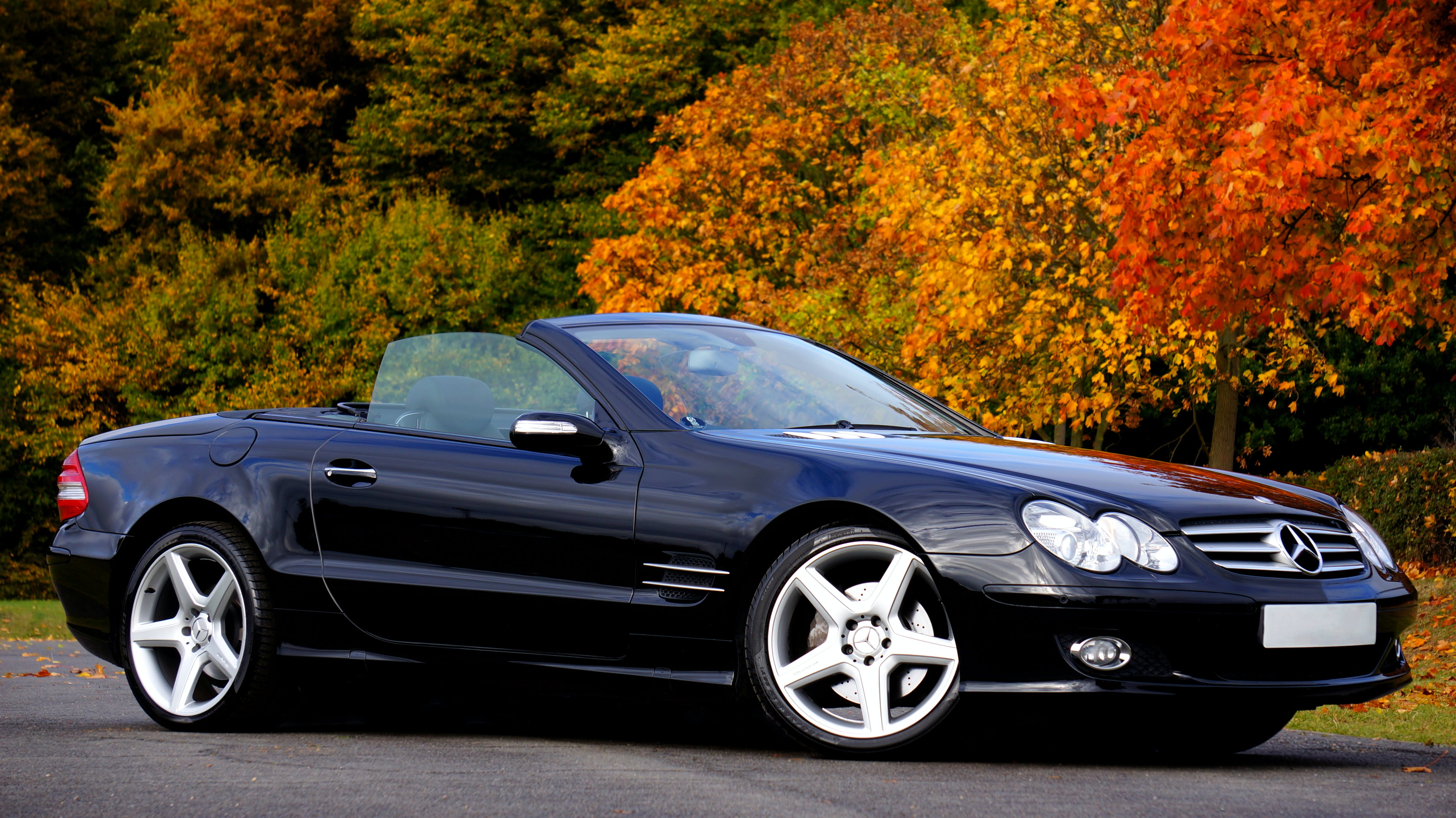Black Mercedes Benz Convertible Coupe Sl Class