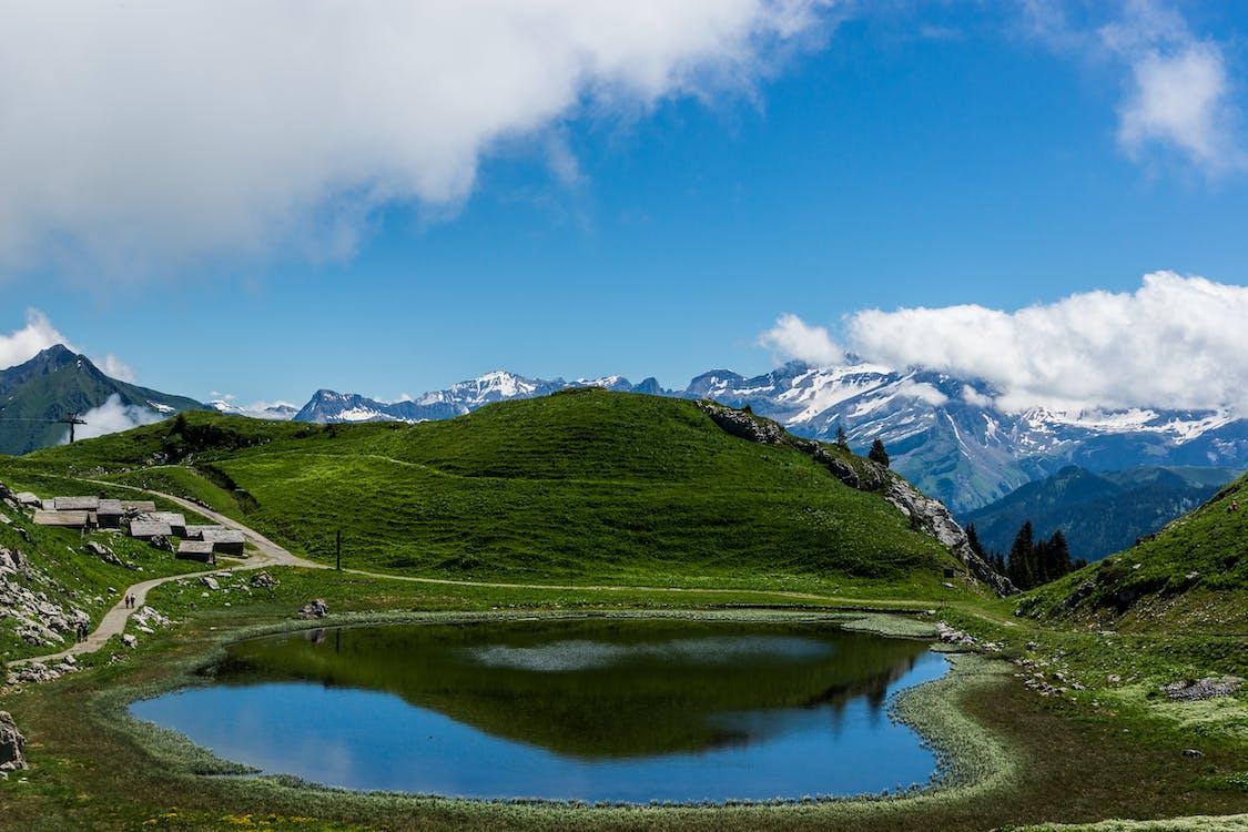 경치, 맑은 하늘, 산