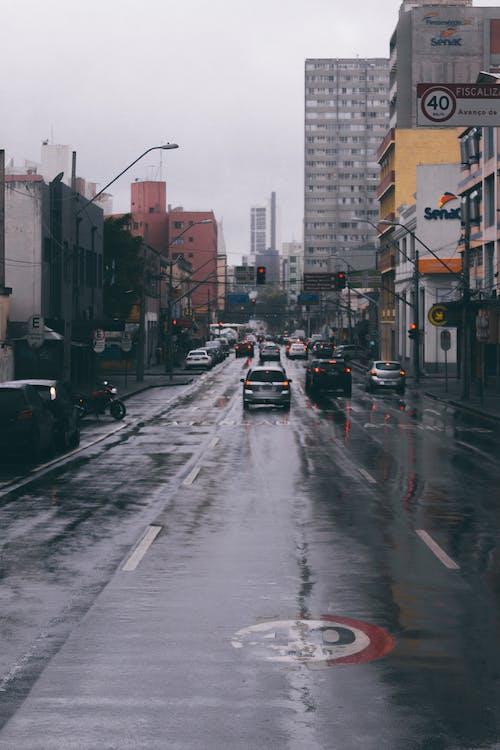 asfalt, auto's, binnenstad