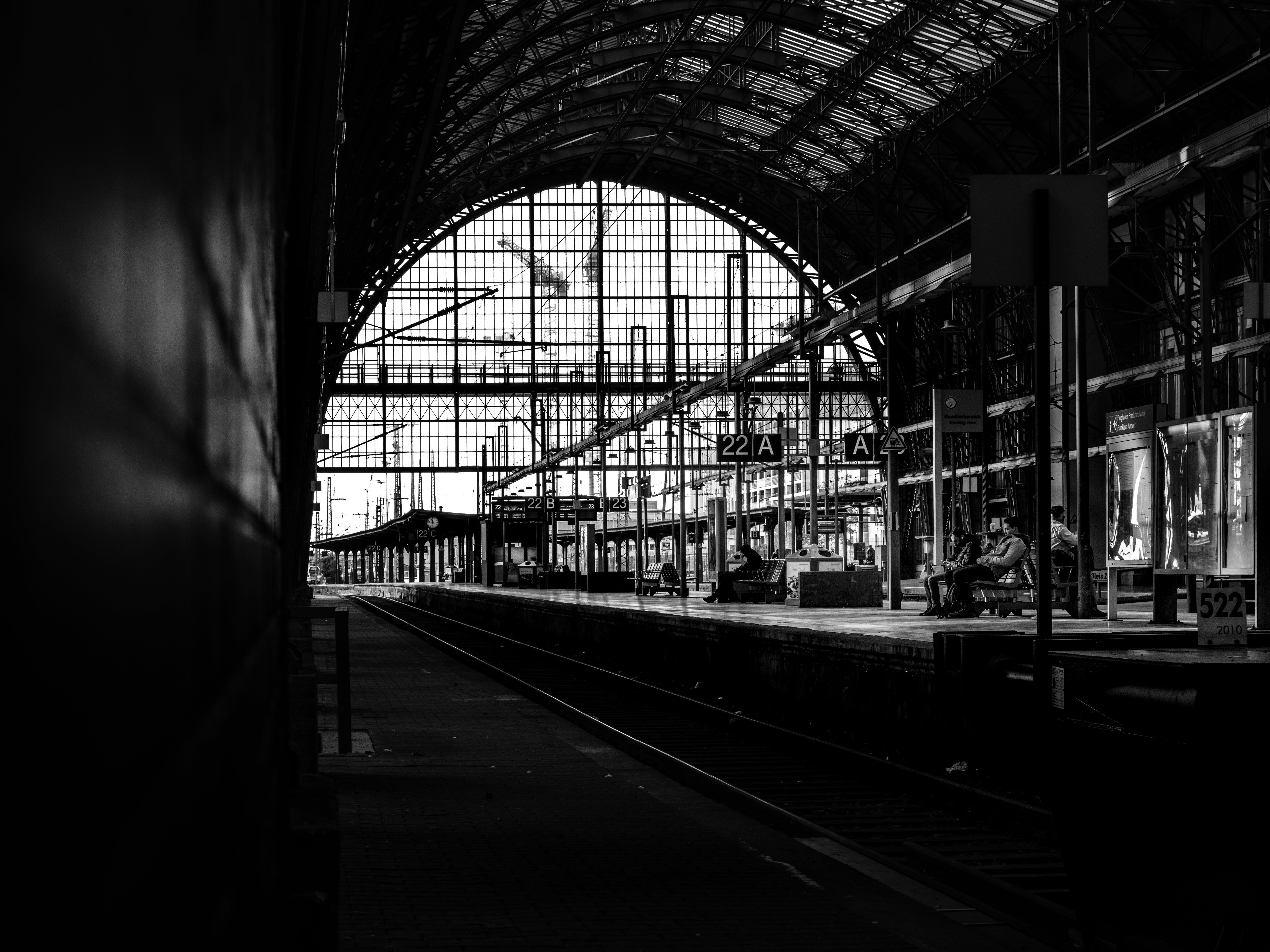 คลังภาพถ่ายฟรี ของ ดำและขาว, ฝึก, สถานี, สถานีรถไฟ