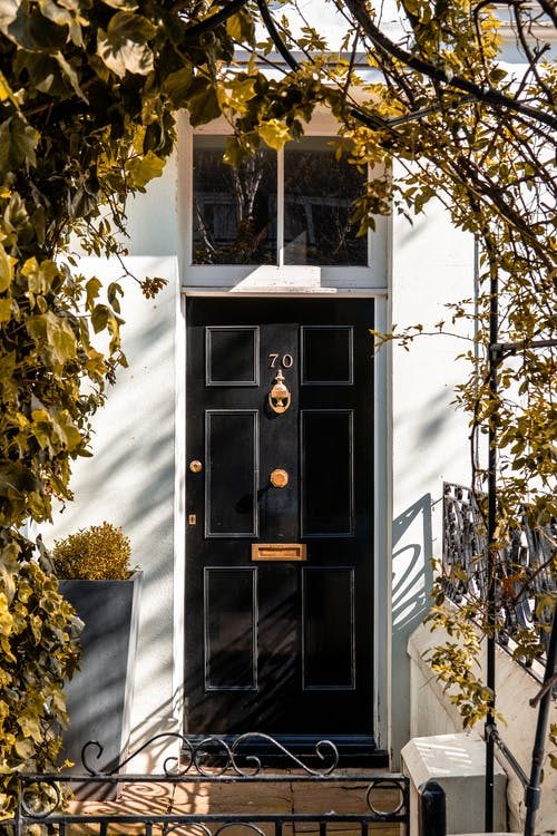 Closed Black Wooden Door