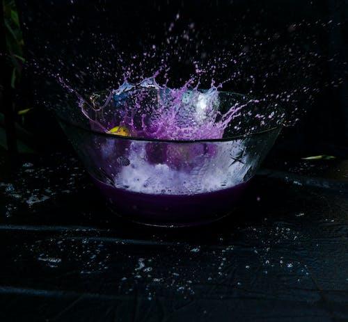 液體, 潑灑, 碗, 紫色 的 免费素材照片