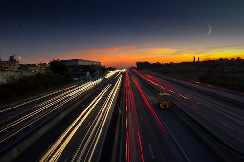 Foto stok gratis aspal, fotografi selang waktu, jalan, jalan raya