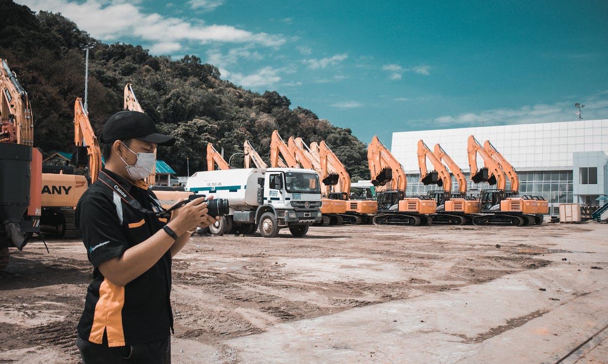 camion, industria, persona