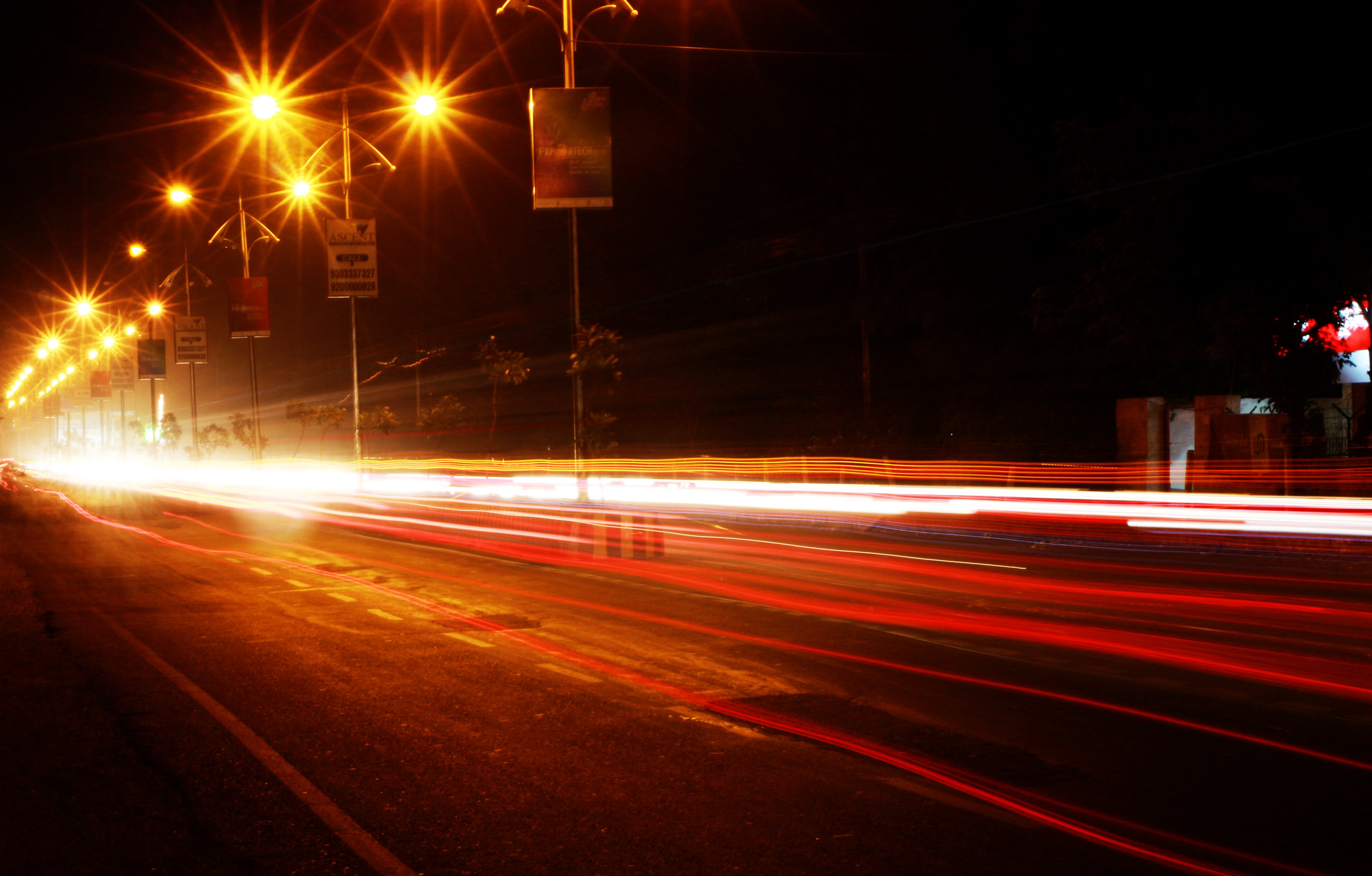 Free stock photo of light trails