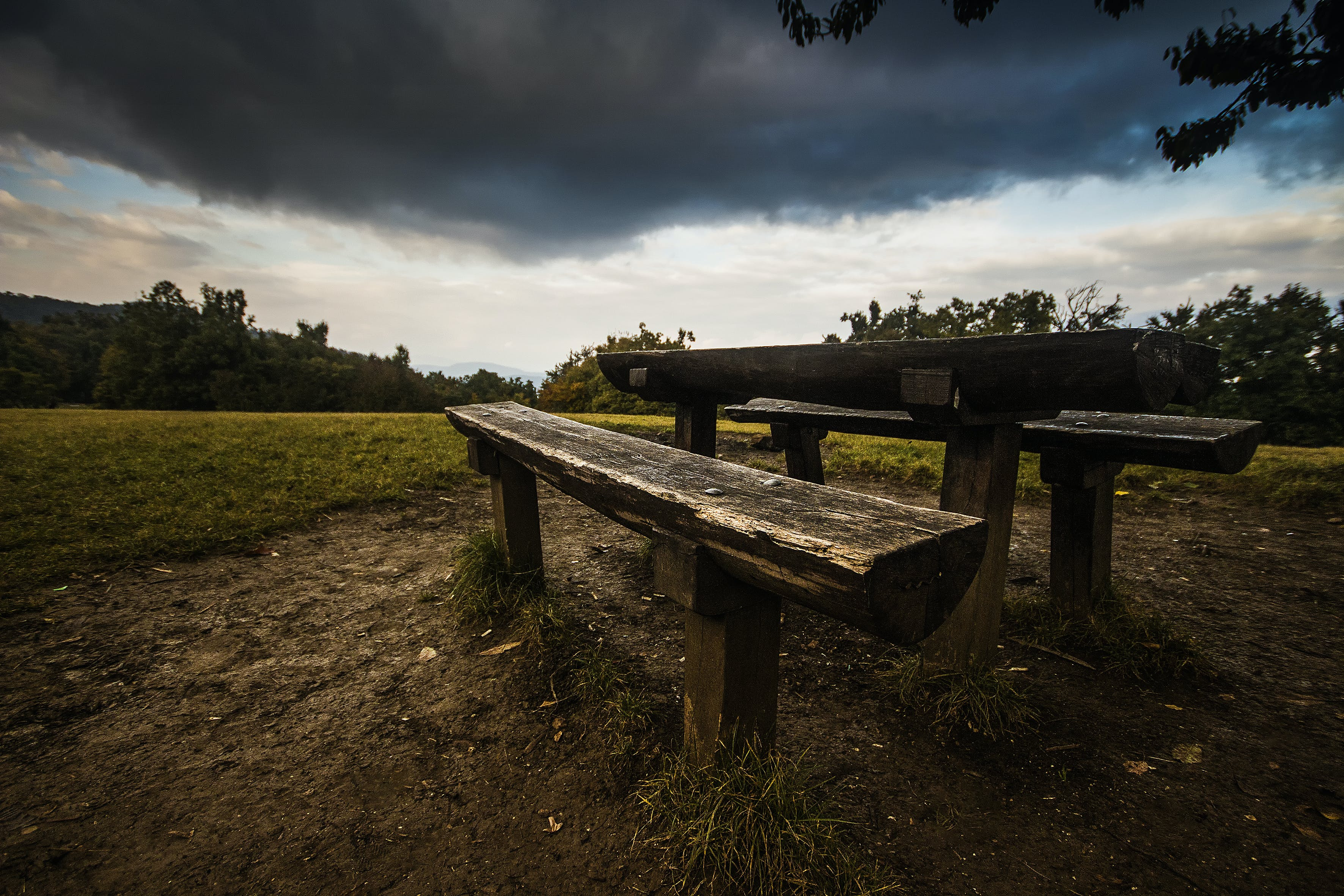 Picnic Table on Grass Field during Daytime
