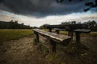 wood, bench, landscape
