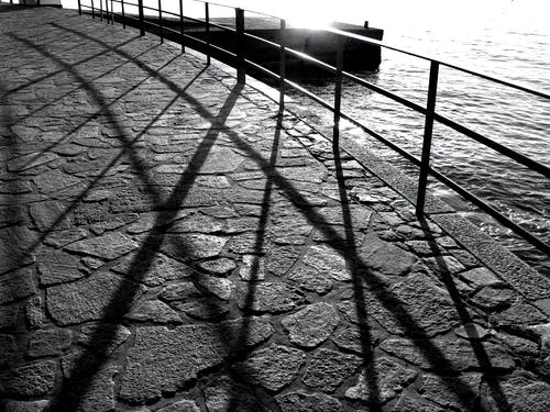 Grayscale Photography of Railings Near Body of Water
