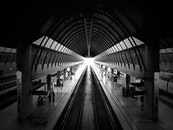 black-and-white, tunnel, architecture