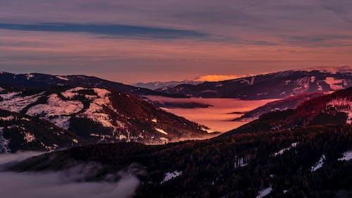 คลังภาพถ่ายฟรี ของ katschberg, ตะวันลับฟ้า, บนหิมะ, ภูเขา