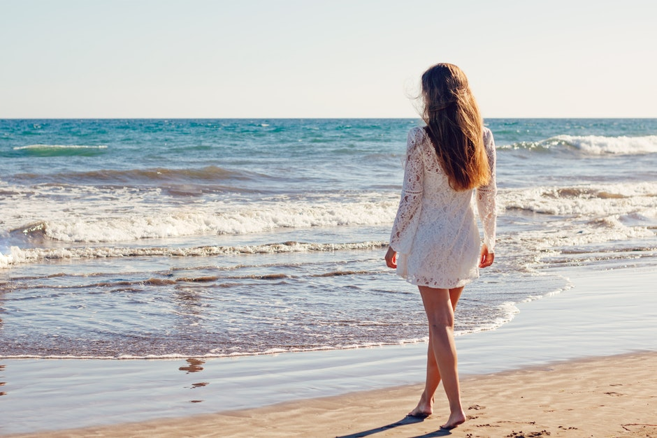 Woman in White Lace Long Sleeves Dress on Seashore