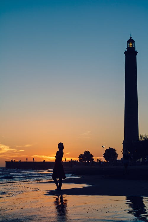 Silhoutte on Woman Standing Near Beach Line