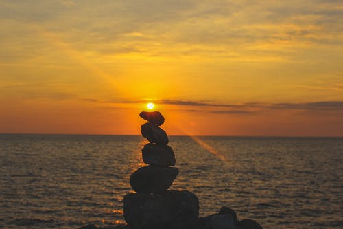Free stock photo of ocean, Philippines, rock balancing, sunset