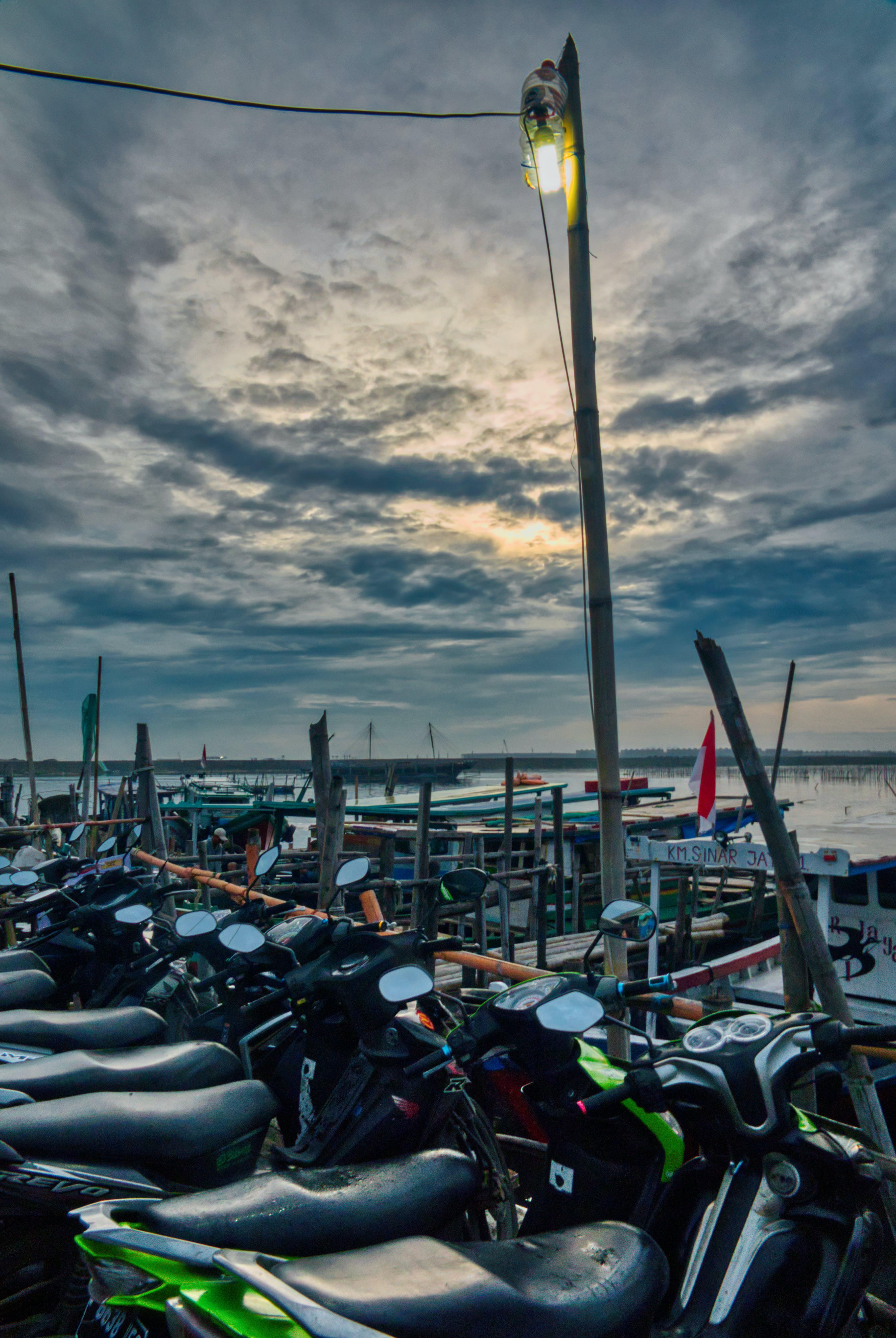 Free stock photo of beach, boat, city, dawn