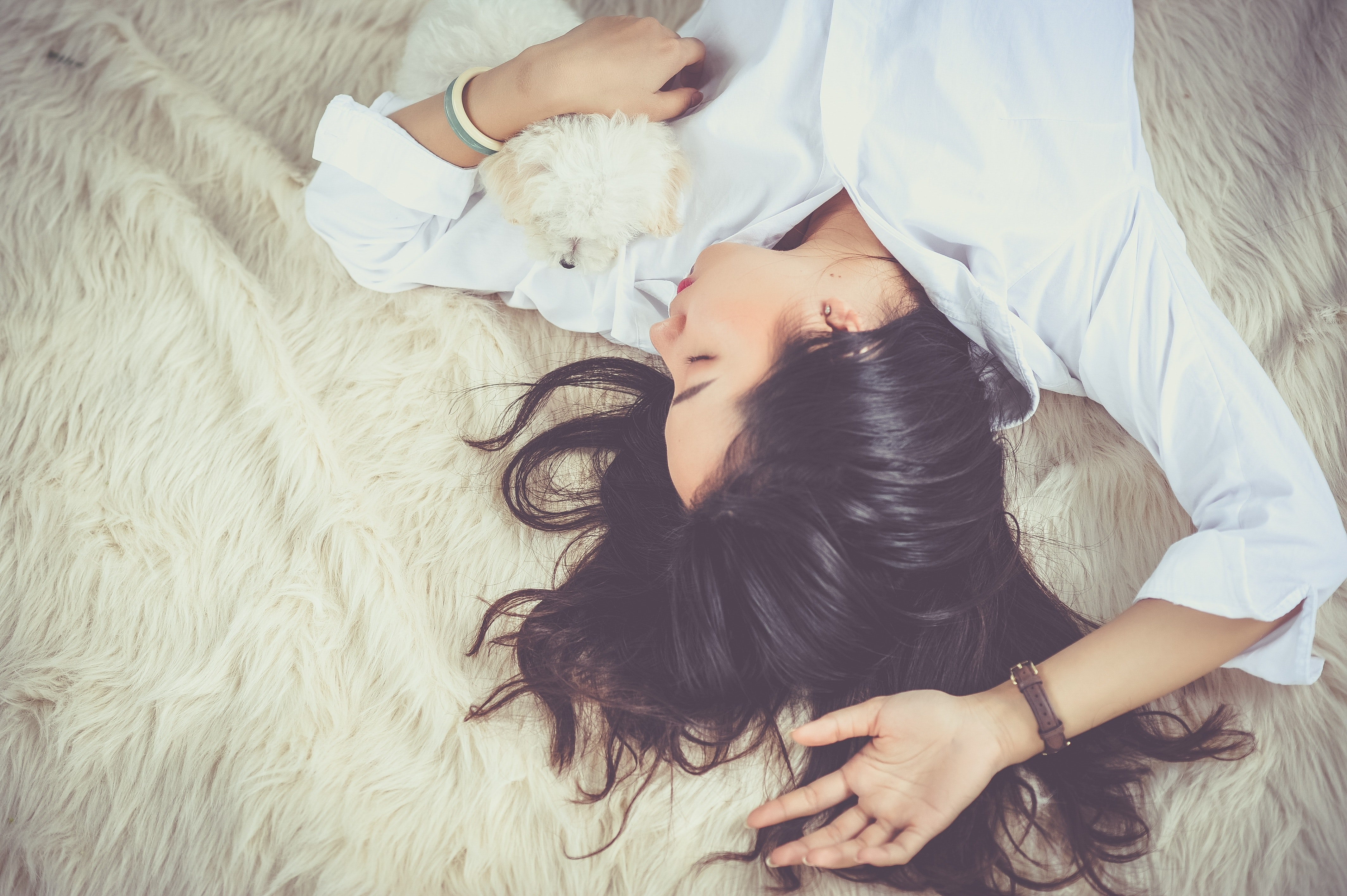 Person Lying On Bed Covering White Blanket 183 Free Stock Photo