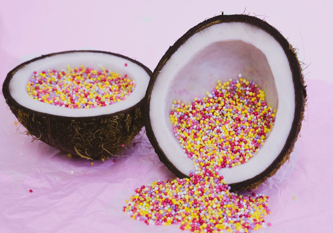 Sliced Coconut with Candies