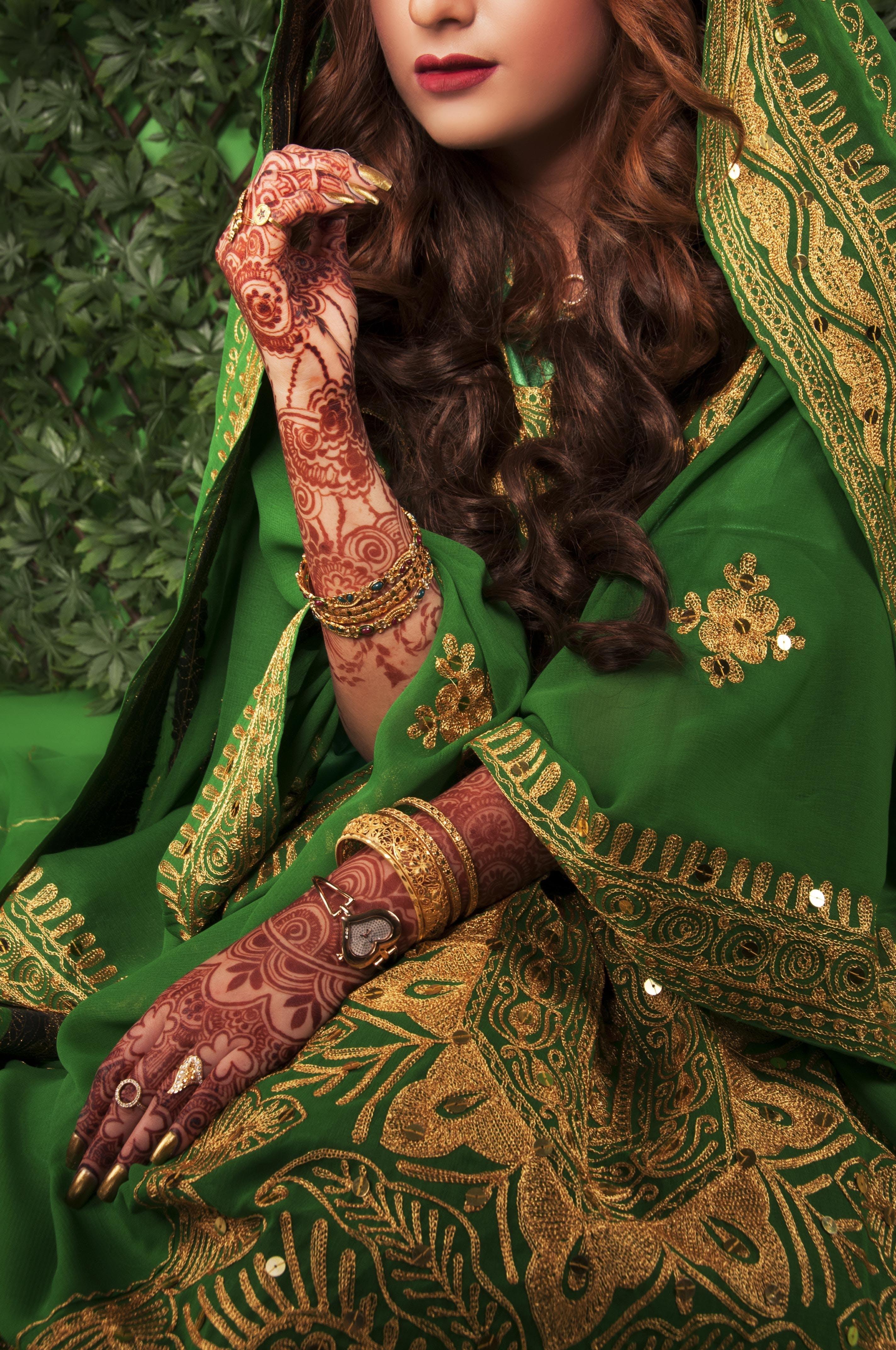 Woman Wearing Green Sari Dress
