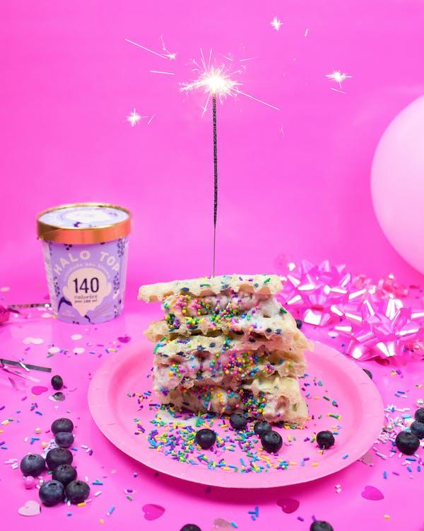 Dessert On Pink Plastic Plate