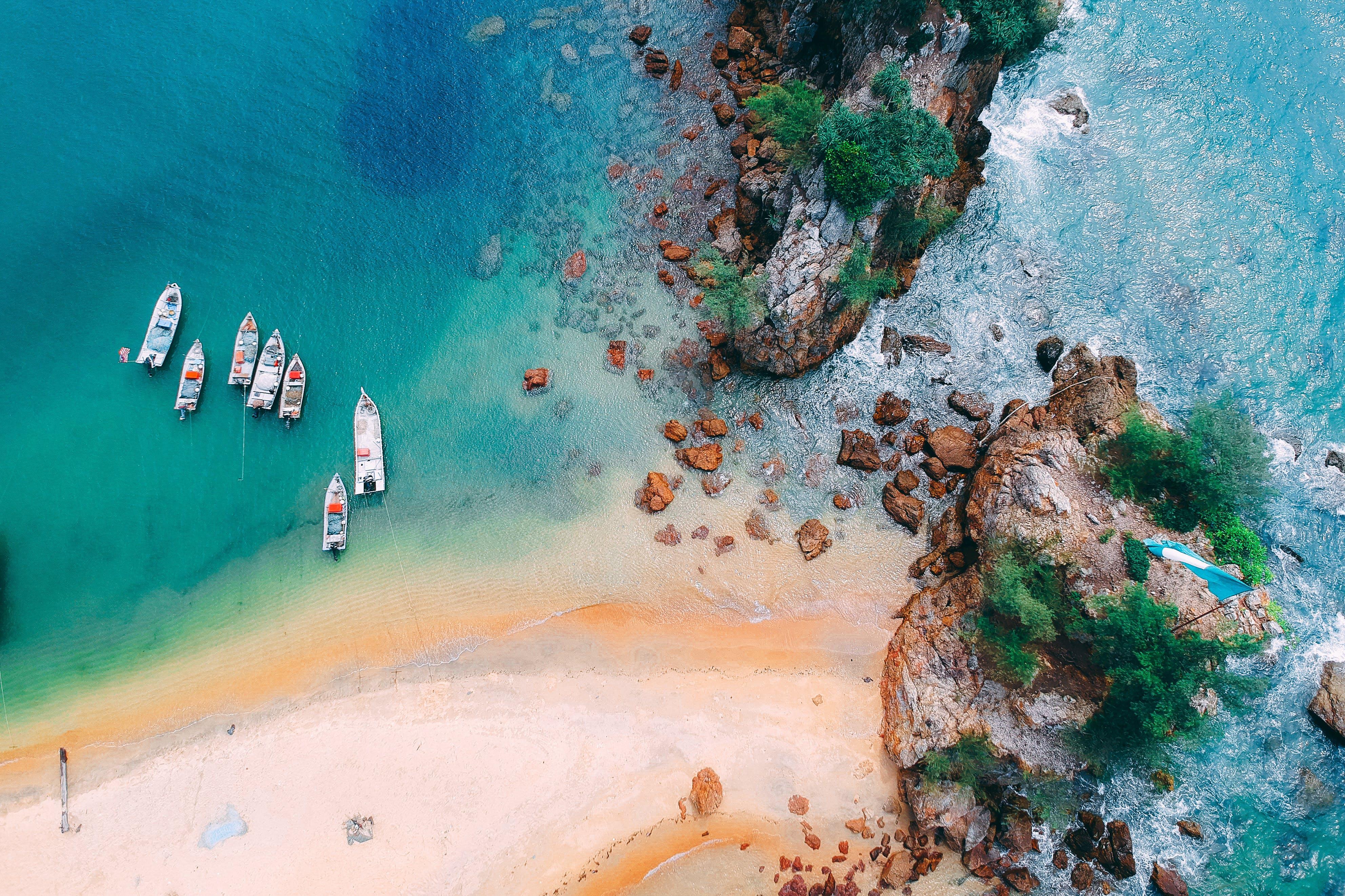 Gratis lagerfoto af idyllisk, kyst, landskab, luftfoto