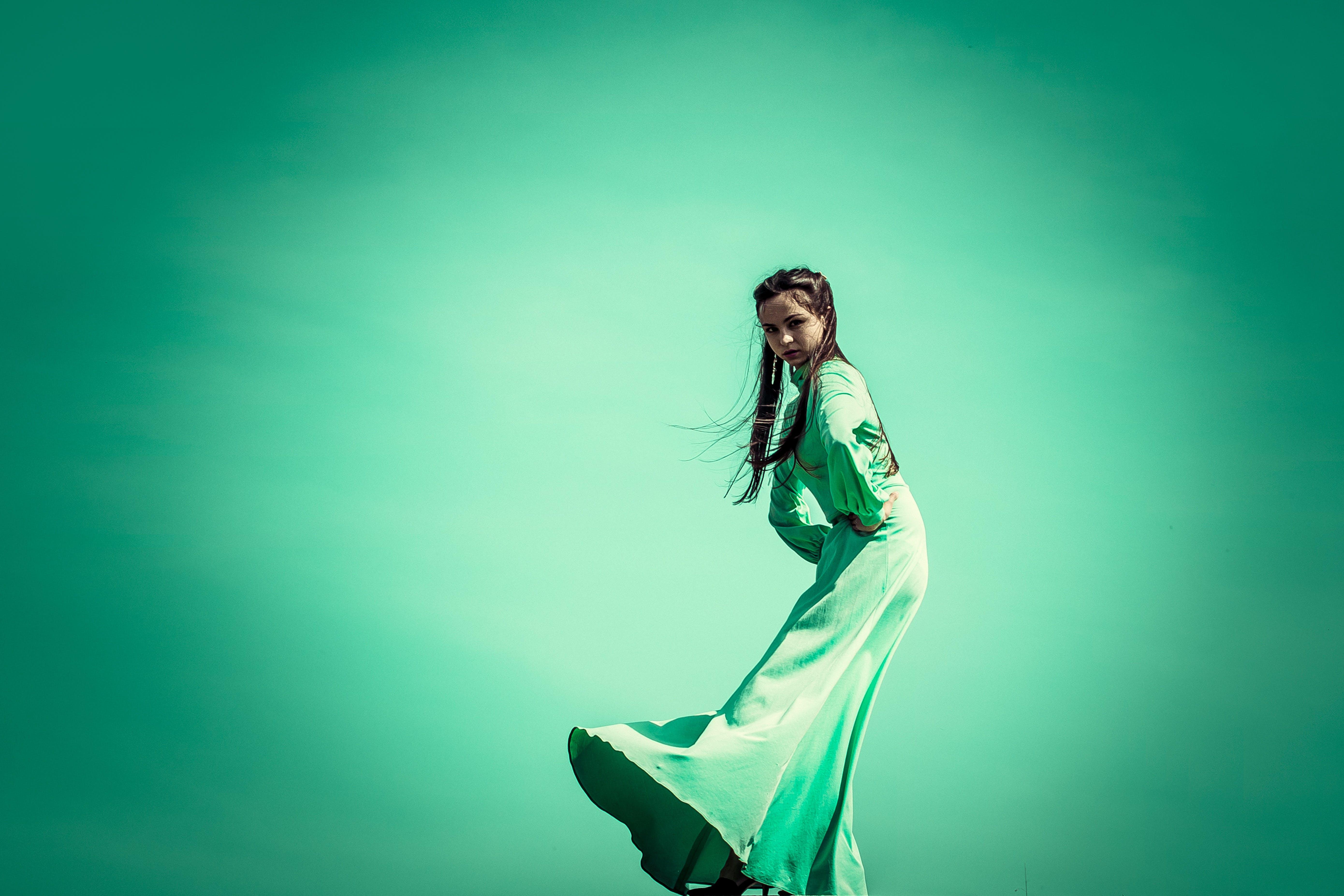 Woman in Green Maxi Dress