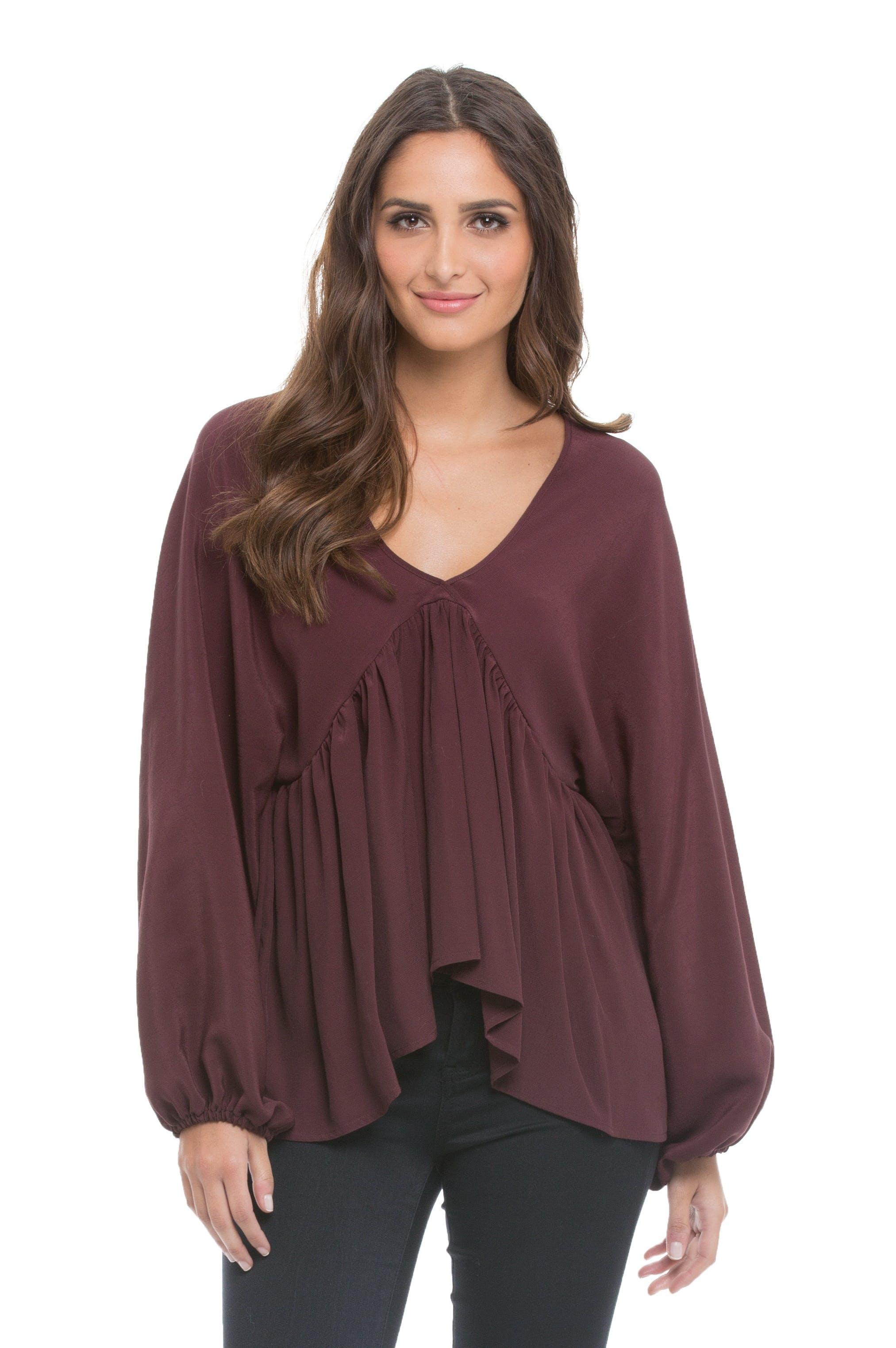 Woman Wearing Purple Blouse