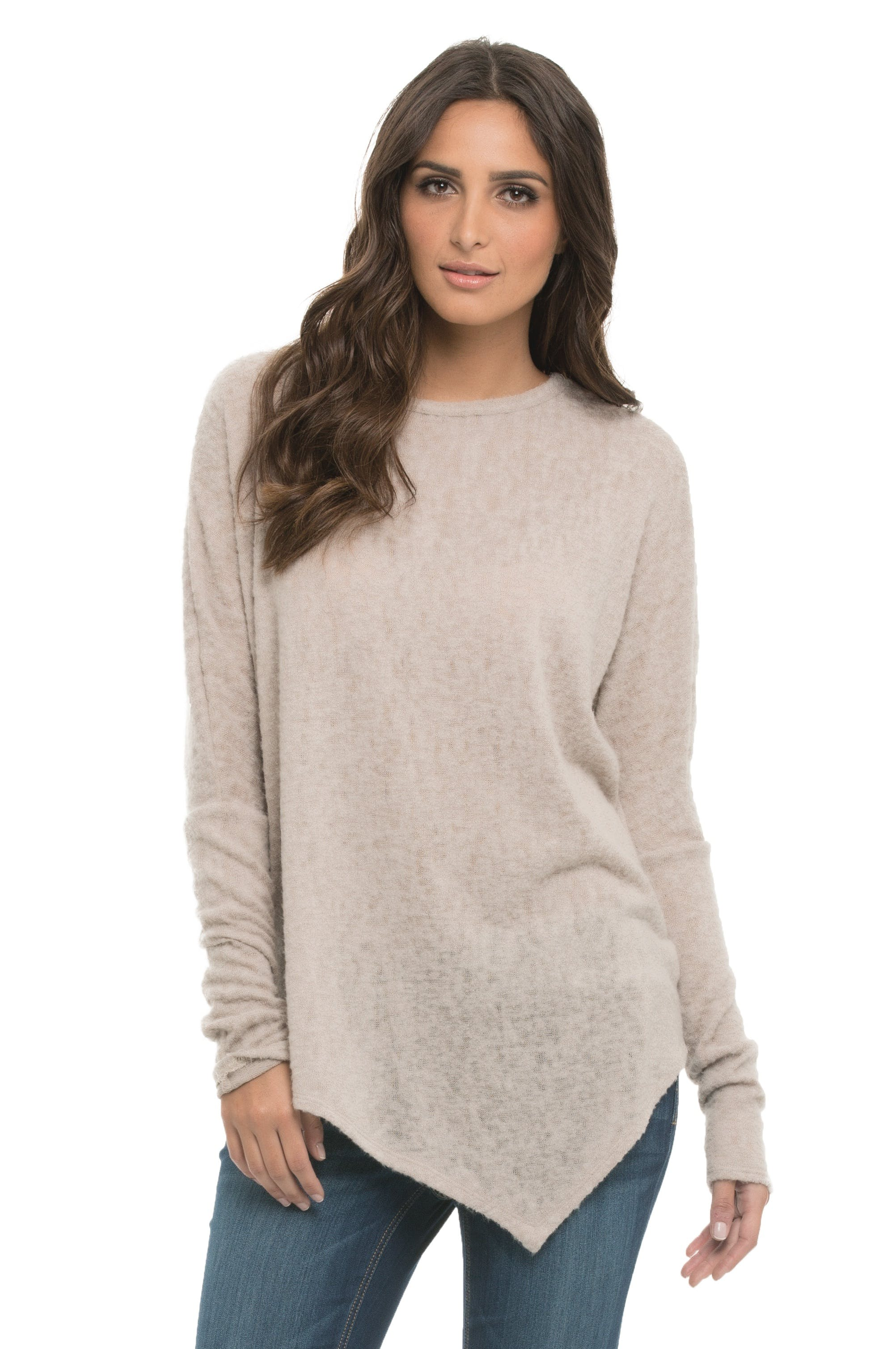 Woman Wearing Grey Crew-neck Sweater and Blue Jeans