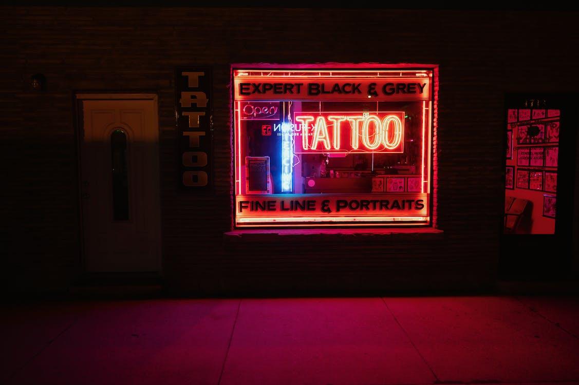 firma, illuminato, insegna al neon