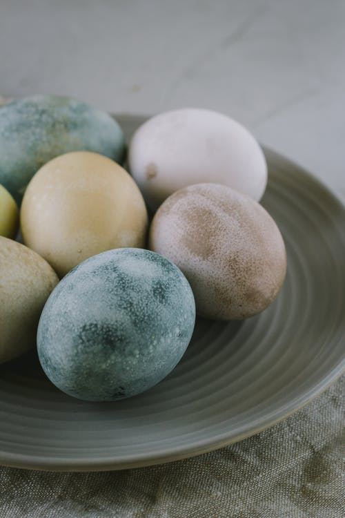Assorted-color Easter Eggs on Plate