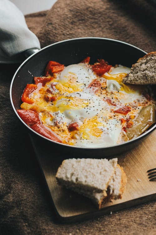 Food Photography of Cooked Eggs and Meat