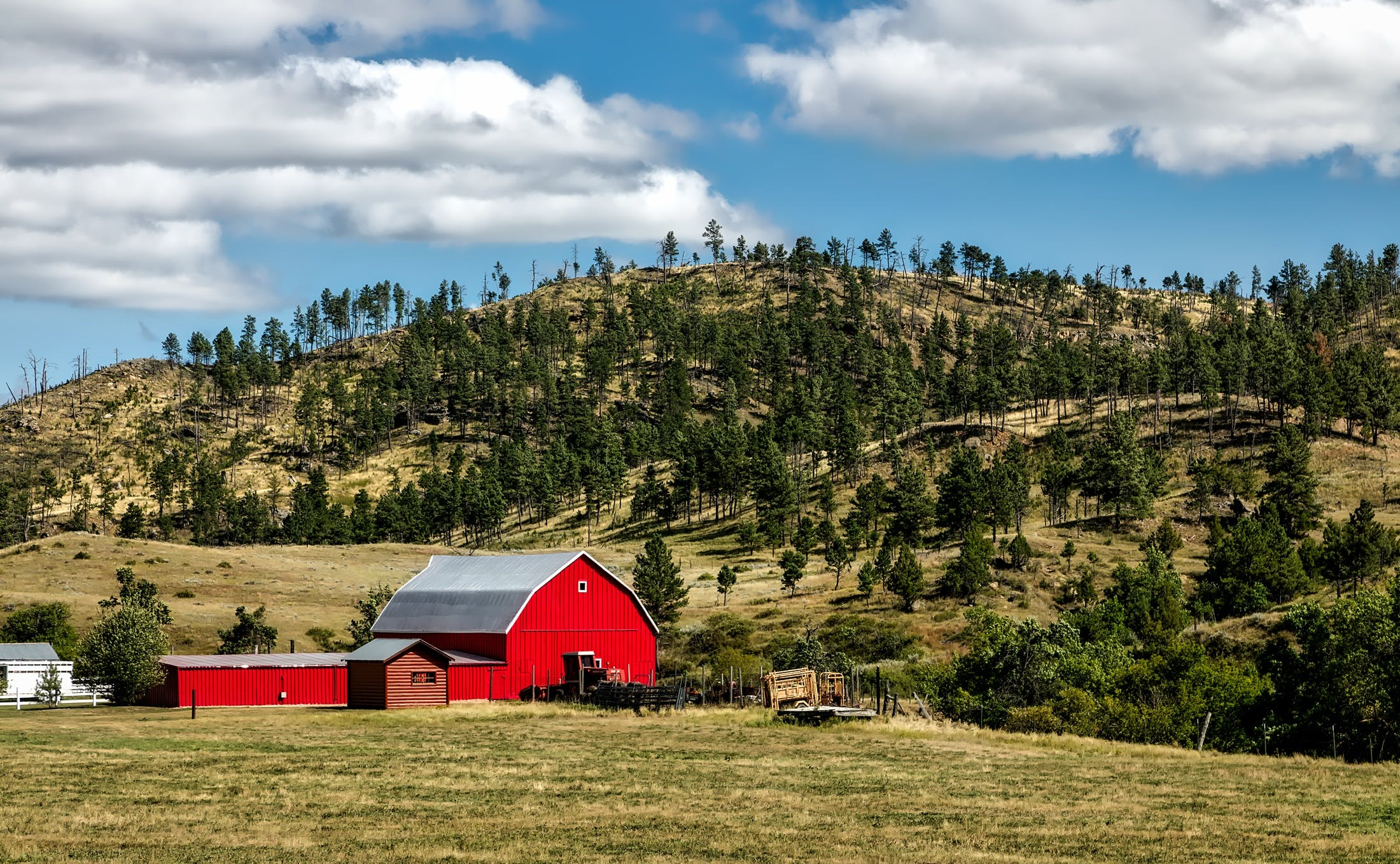 Red Wooden Shed on Farm Land
