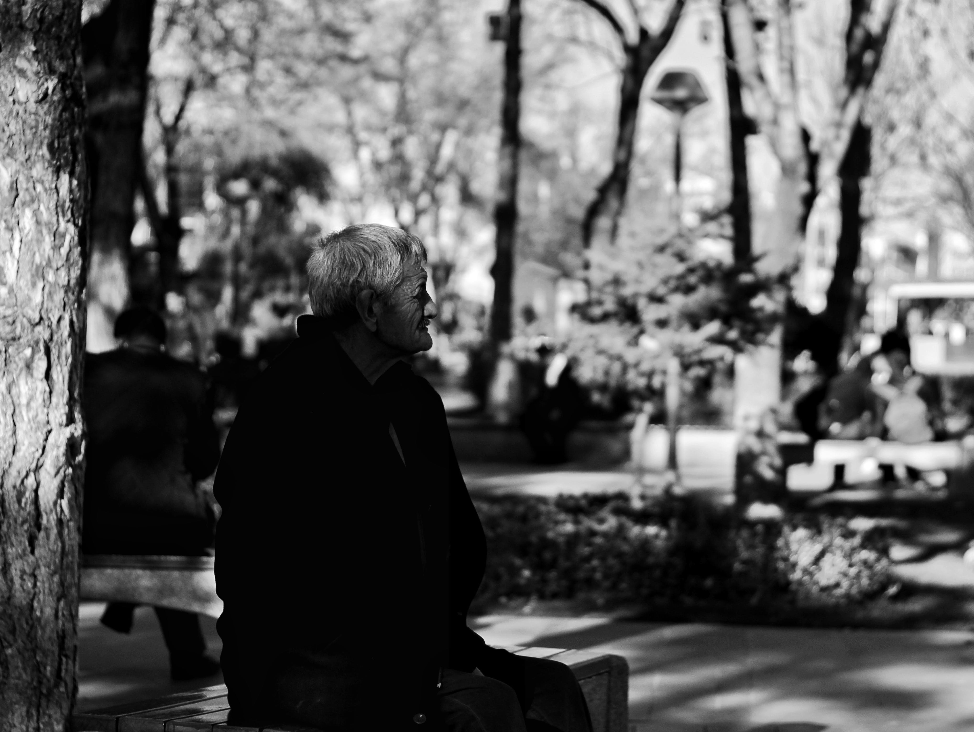 Free stock photo of light and shadow, old man, street art