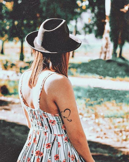 Foto d'estoc gratuïta de barret de feltre, braç, cor, d'esquena