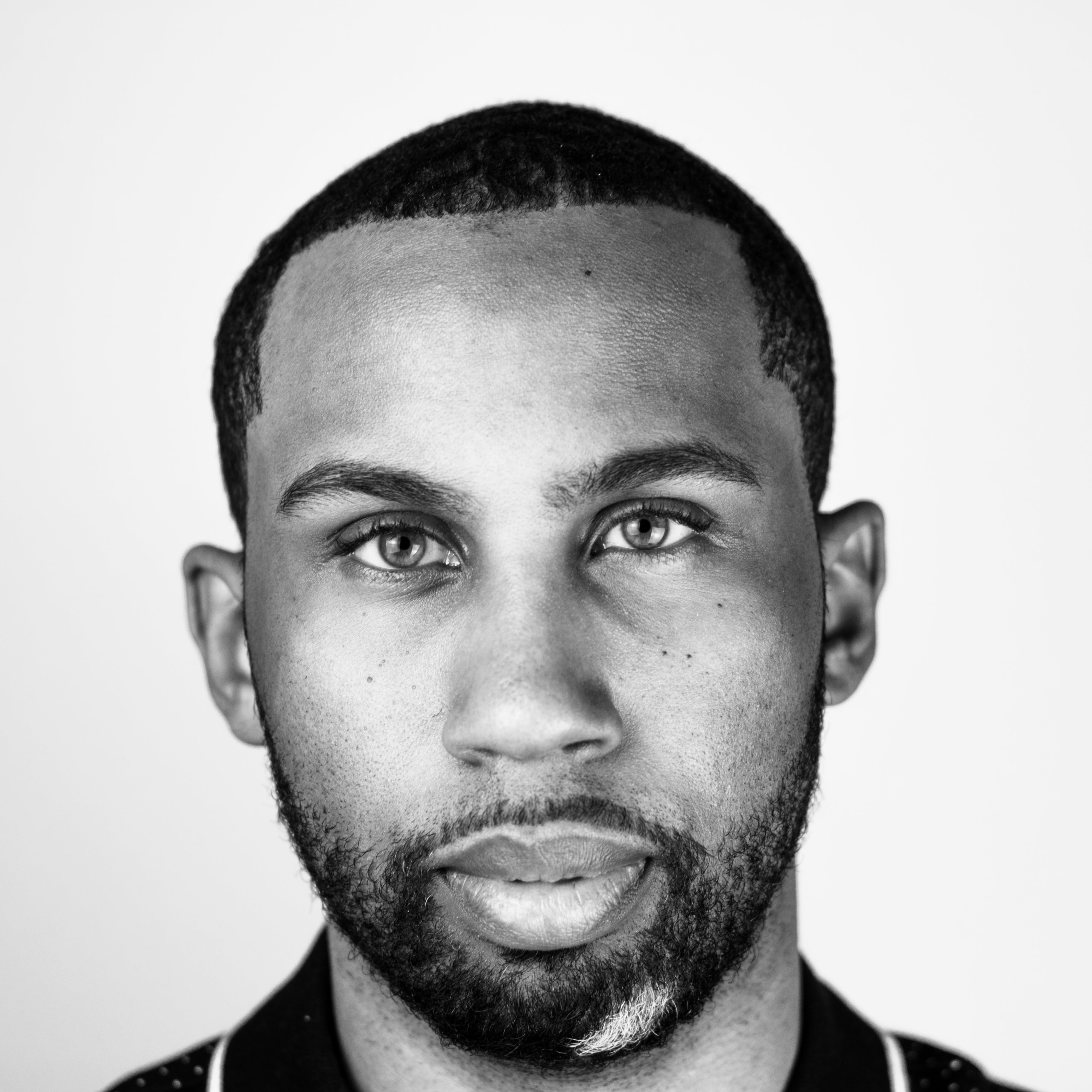 Monochrome Photo of Man With Beard