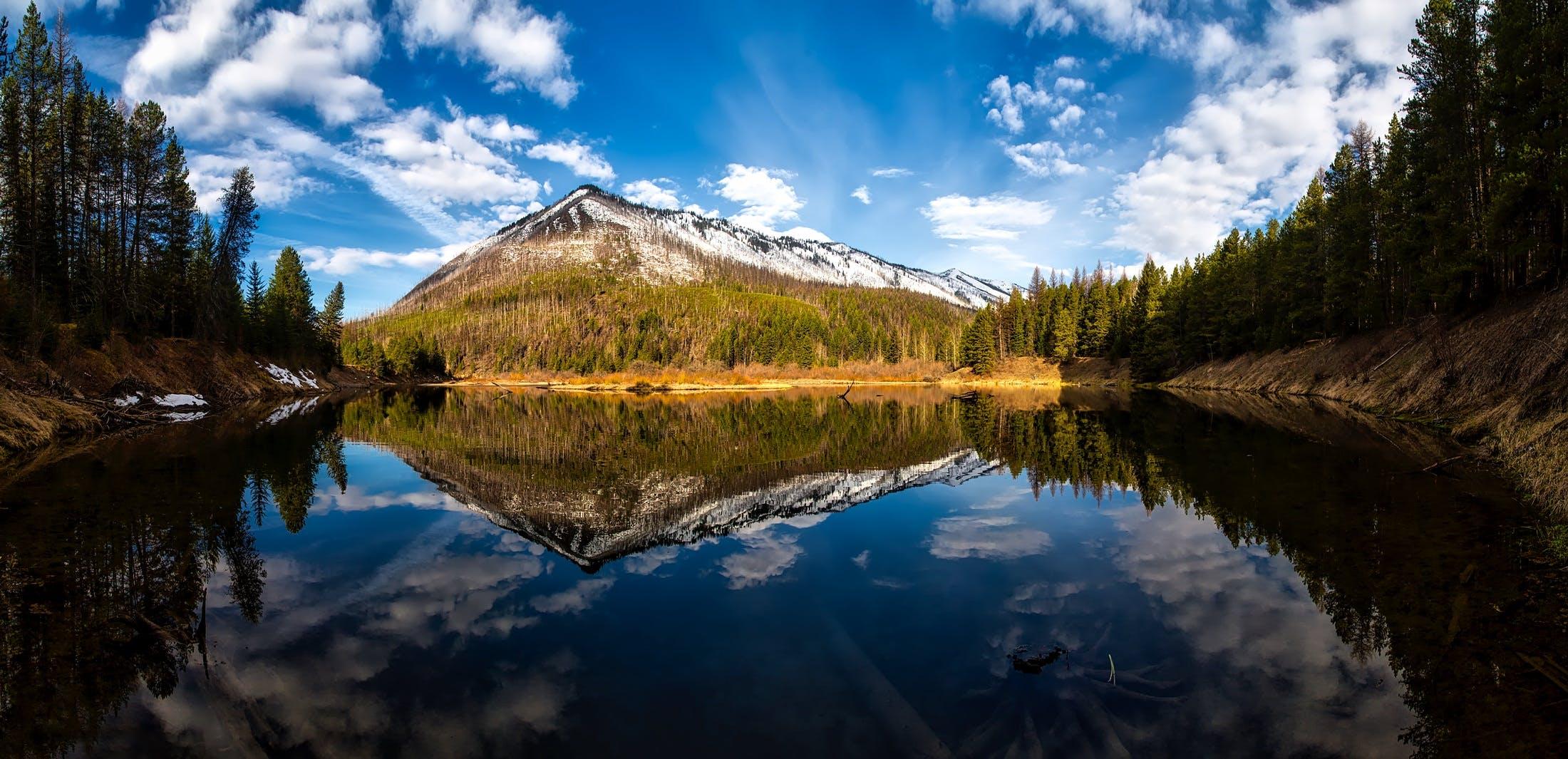 パノラマ, 反射, 山, 平和的の無料の写真素材