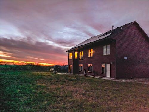 Gratis stockfoto met kansas, landhuis, rood, zonsondergang
