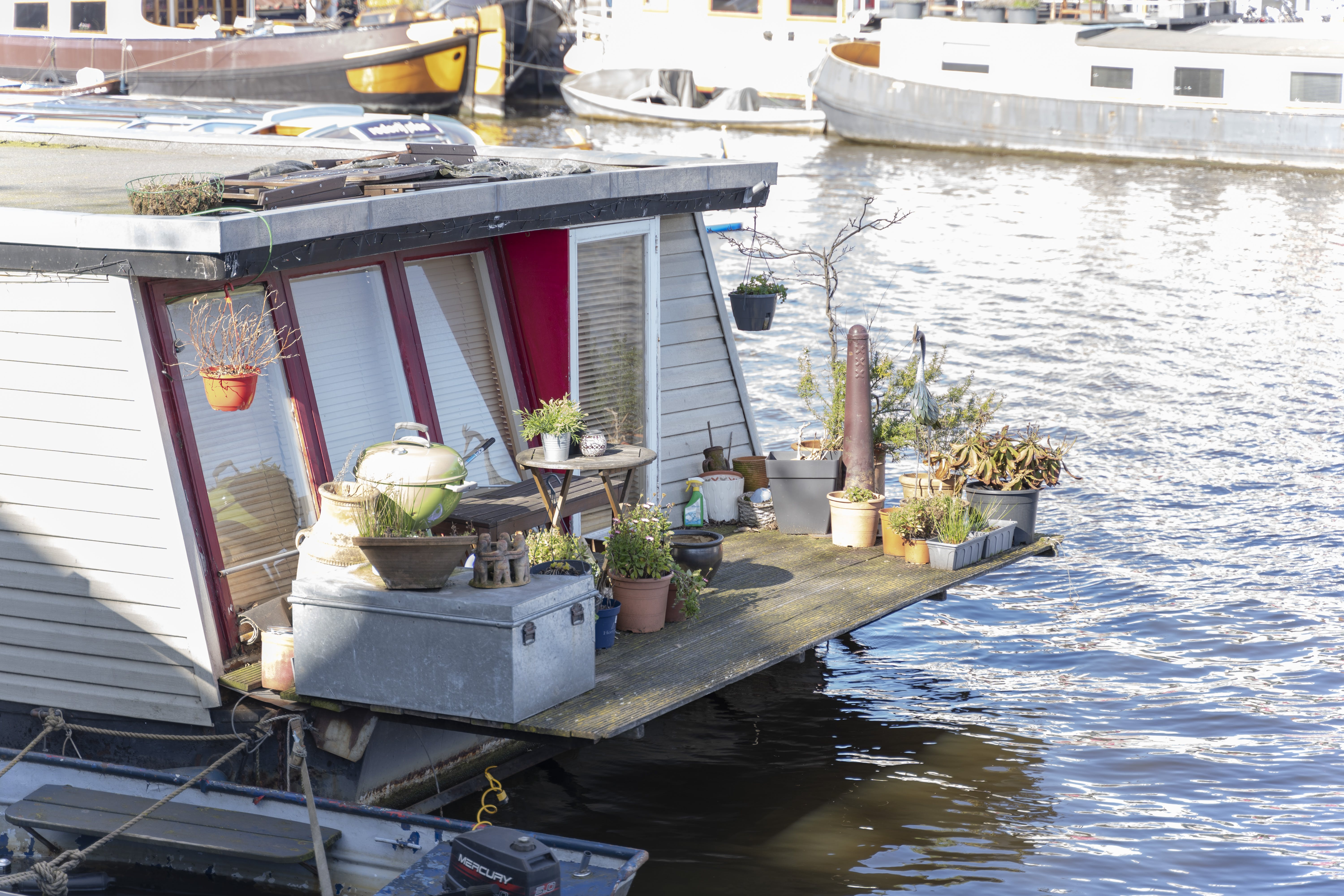 Free stock photo of amsterdam, boat, boat house, flowers