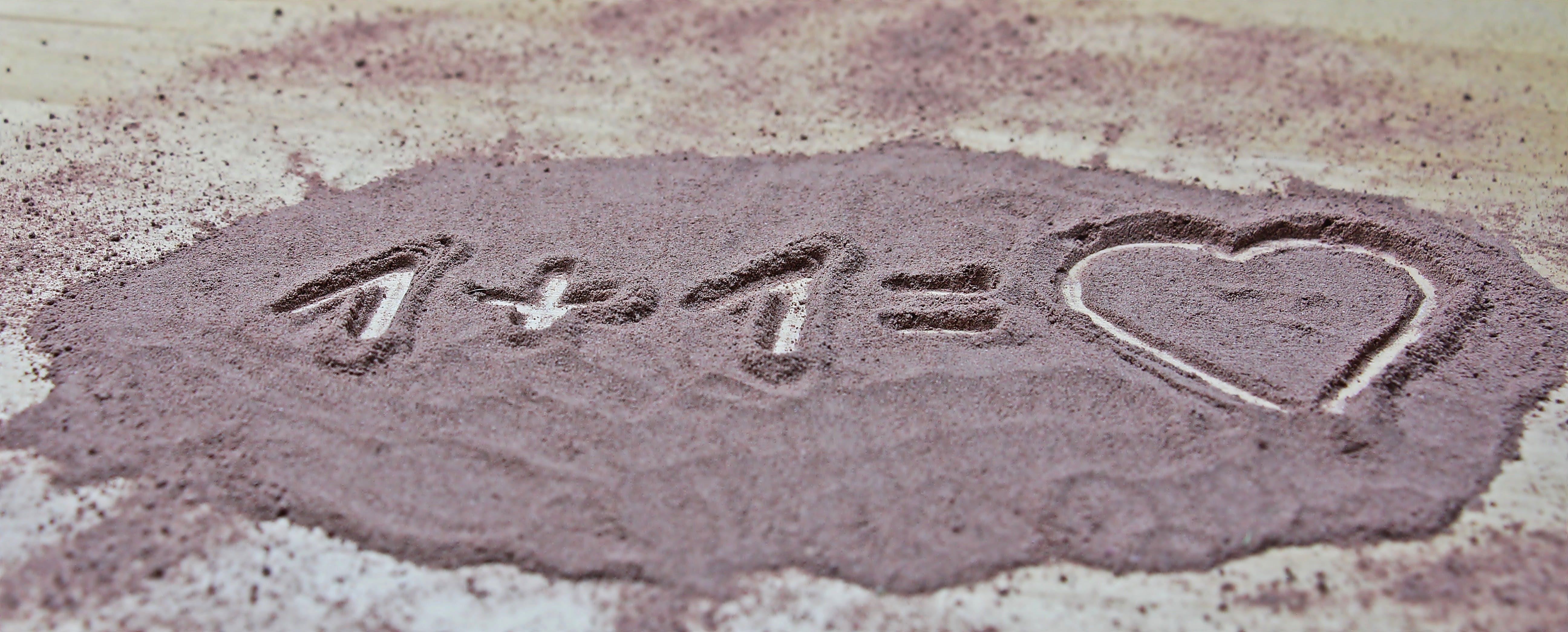1 + 1 = Heart in Sand
