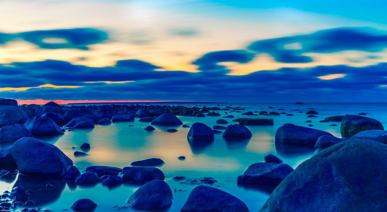 agua, amanecer, azul