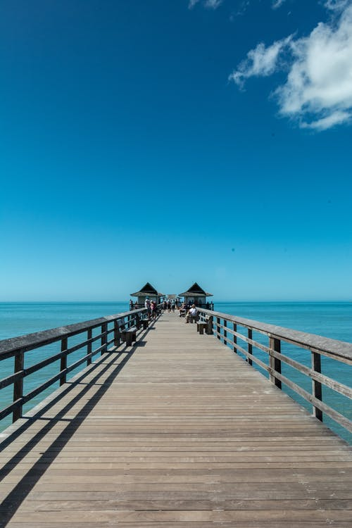 Free stock photo of beach, benches, blue