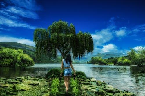 Woman in Blue Denim Shorts Walking to Tree Beside Lake