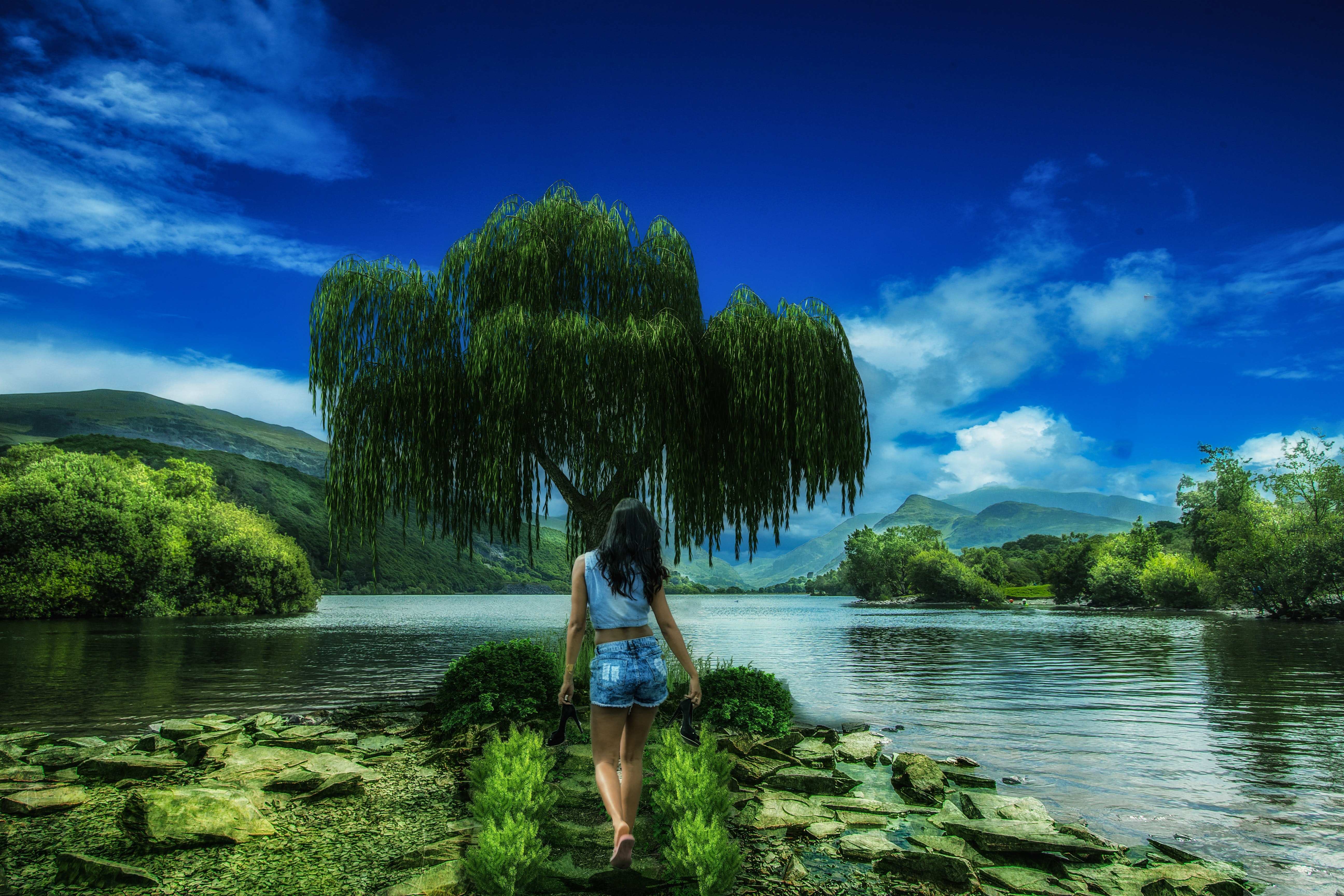 Woman in blue denim shorts walking to tree beside lake - Girl wallpaper hd for mobile free download ...