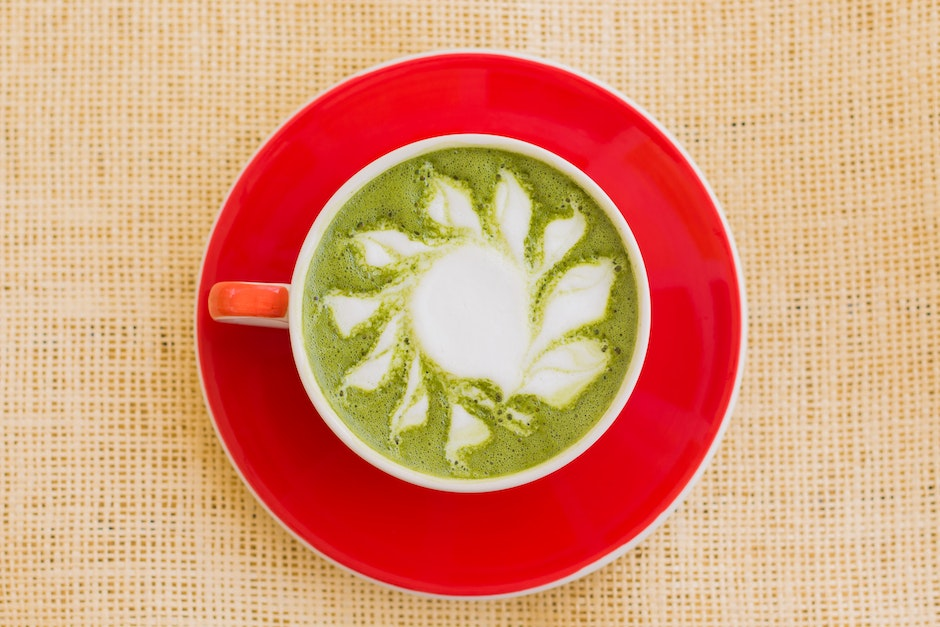 Matcha Drink on Red Ceramic Bowl