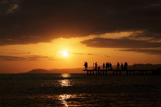 Free stock photo of fishing, sea, dawn, mountains