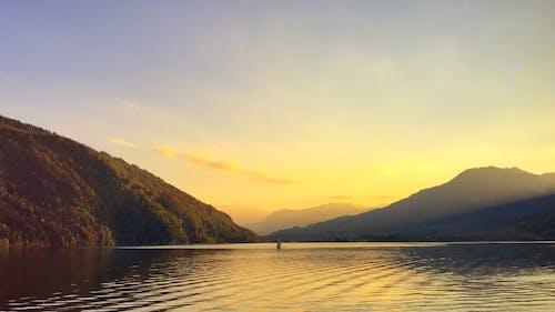 Ingyenes stockfotó arany naplemente, folyó, hajóm csónak témában