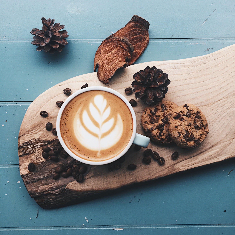 Top View Photo of Coffee Near Cookies